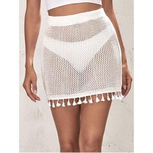 Tassel Detail White Knit Cover Up Mini Skirt